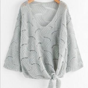 SHEIN self tie front open knit sweater